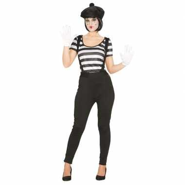 Mime verkleedkleding voor damescarnavalskleding