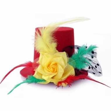 Mini hoedje op clip in carnaval kleurencarnavalskleding