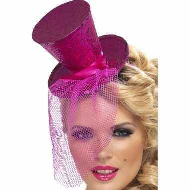 Mini hoge hoed roze op diadeemcarnavalskleding