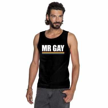 Mister gay mouwloos shirt zwart met regenboog vlag herencarnavalskled