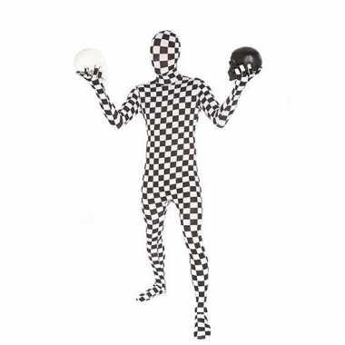 Morphsuit kostuum zwart wit gebloktcarnavalskleding