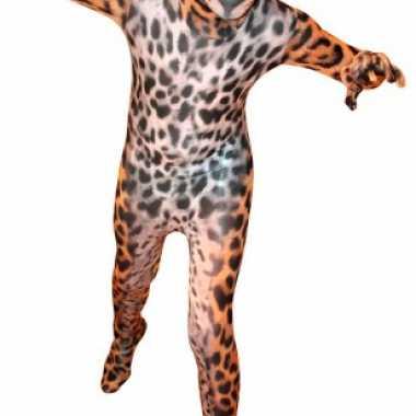 Morphsuit met luipaard printcarnavalskleding