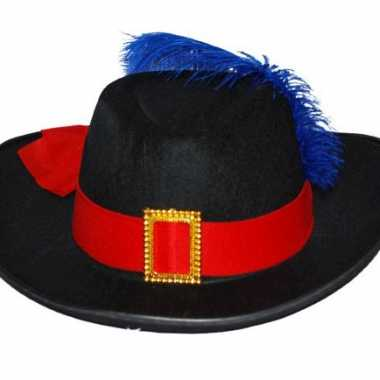 Musketier hoed met band en veercarnavalskleding