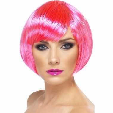 Neon roze korte dames pruik boblijncarnavalskleding