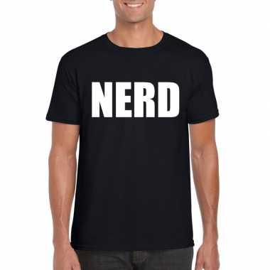 Nerd tekst t-shirt zwart herencarnavalskleding