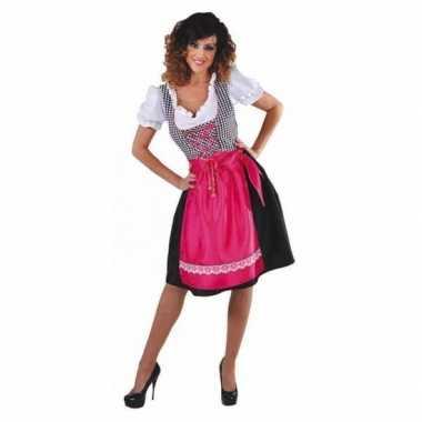 Oktoberfest jurkje zwart met roze schort carnavalskleding