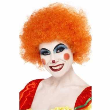 Oranje afro pruiken carnavalskleding
