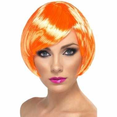 Oranje dames pruik kort carnavalskleding