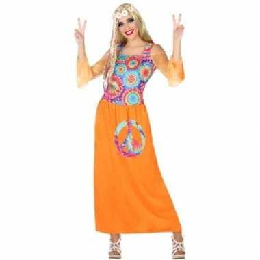 Oranje flower power jurk voor damescarnavalskleding