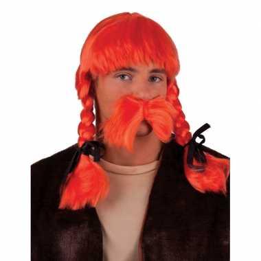 Oranje krulletjespruik met vlechtencarnavalskleding