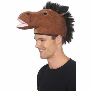 Paardenhoofd hoedje voor volwassenen carnavalskleding