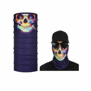 Paars biker masker gekleurd skeletprint voor volwassennencarnavalskle