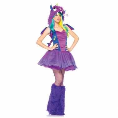 Paars sexy draken kostuum voor dames carnavalskleding