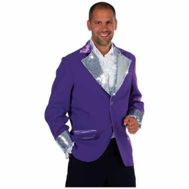 Paars zilver glitter jassen heren carnavalskleding