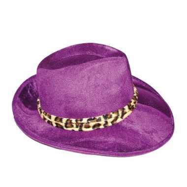 Paarse al capone hoed voor herencarnavalskleding