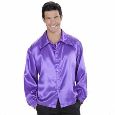 Paarse blouse van satijn carnavalskleding