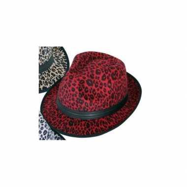 Panter print hoed rood trilby modelcarnavalskleding