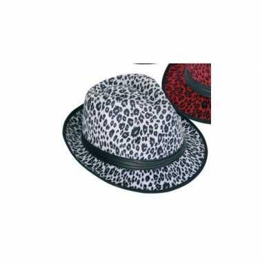 Panter print hoed wit trilby modelcarnavalskleding