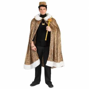 Panterprint koning cape voor volwassenencarnavalskleding