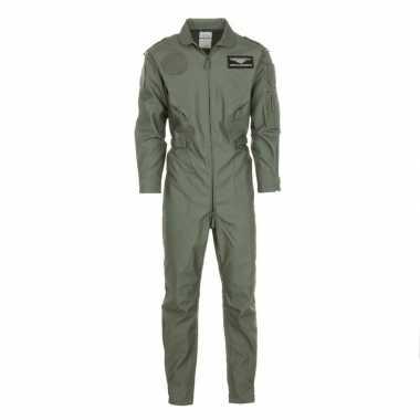 Piloten overall legergroen voor volwassenencarnavalskleding