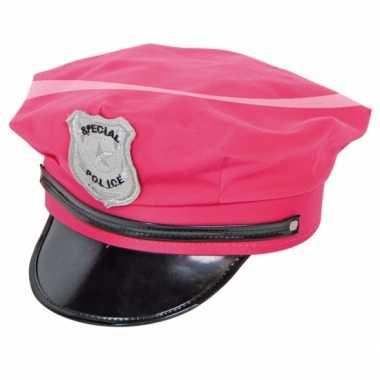 Pink police petje voor volwassenencarnavalskleding