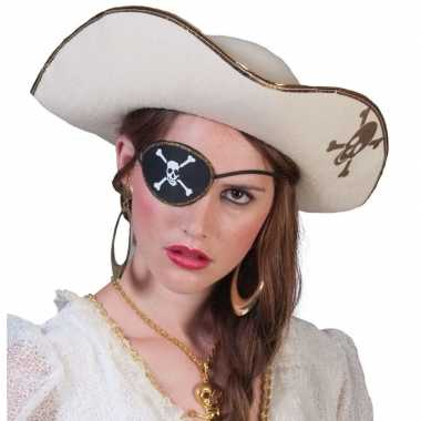 Pirates of the caribbean thema witte piratenhoed met schedelcarnavals