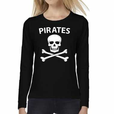Pirates tekst t-shirt long sleeve zwart voor damescarnavalskleding