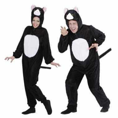 Pluche dieren kattenpak onesie zwart/wit katcarnavalskleding