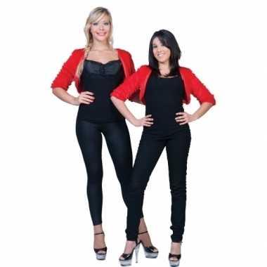 Pluche rood jasje voor damescarnavalskleding
