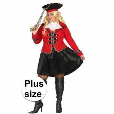 Plus size carnaval piraten verkleedkleding kapitein grace voor damesc