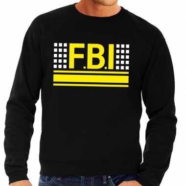 Politie fbi logo sweater zwart voor herencarnavalskleding
