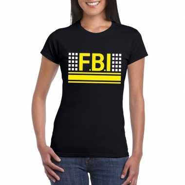 Politie fbi logo t-shirt zwart voor damescarnavalskleding