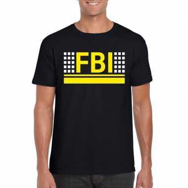 Politie fbi logo t-shirt zwart voor herencarnavalskleding
