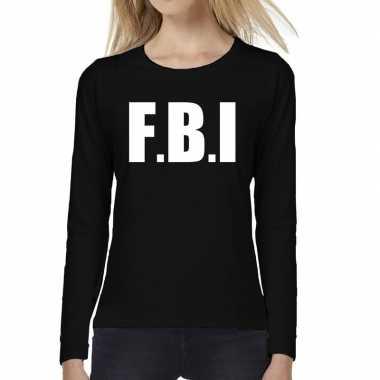 Politie fbi tekst t-shirt long sleeve zwart voor damescarnavalskledin