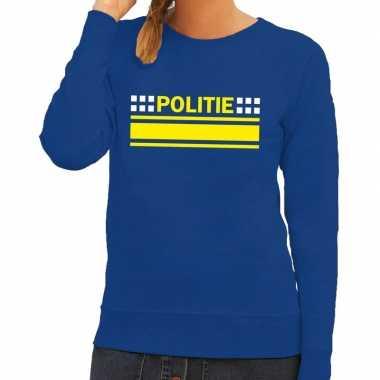 Politie logo sweater blauw voor damescarnavalskleding