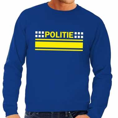 Politie logo sweater blauw voor herencarnavalskleding