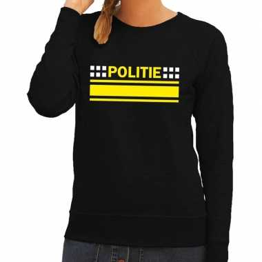 Politie logo sweater zwart voor damescarnavalskleding