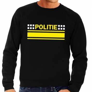 Politie logo sweater zwart voor herencarnavalskleding
