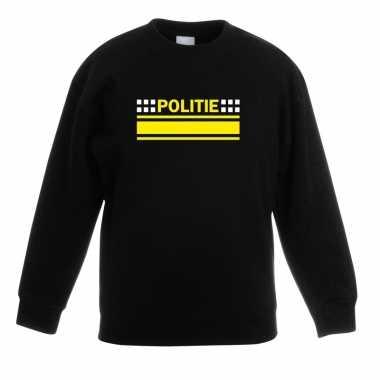 Politie logo sweater zwart voor kinderencarnavalskleding