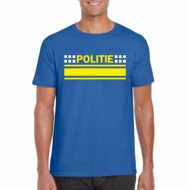 Politie logo t-shirt blauw voor herencarnavalskleding