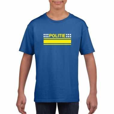 Politie logo t-shirt blauw voor kinderencarnavalskleding