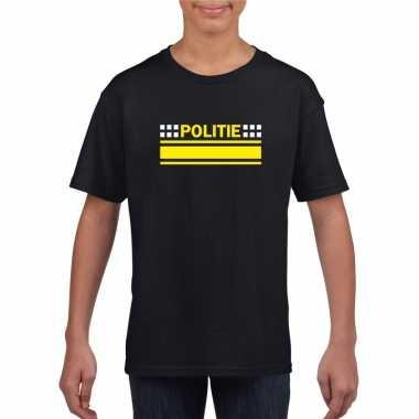 Politie logo t-shirt zwart voor kinderencarnavalskleding