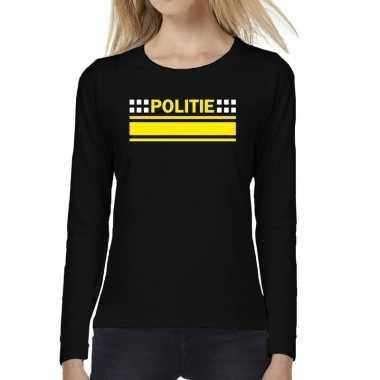 Politie logo verkleed t-shirt long sleeve zwart voor damescarnavalskl