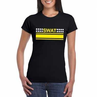 Politie swat team logo t-shirt zwart voor damescarnavalskleding