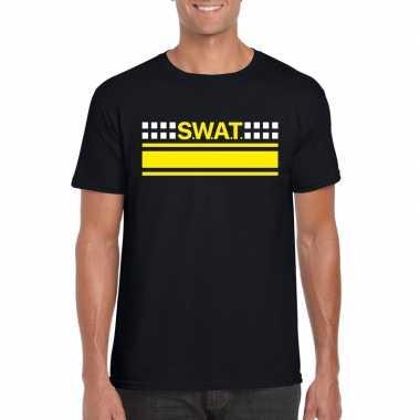 Politie swat team logo t-shirt zwart voor herencarnavalskleding