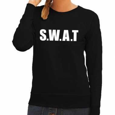Politie swat tekst sweater / trui zwart voor damescarnavalskleding