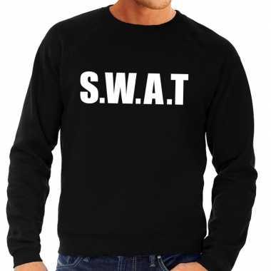 Politie swat tekst sweater / trui zwart voor herencarnavalskleding