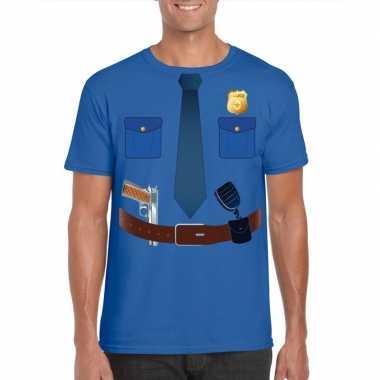 Politie uniform kostuum t-shirt blauw voor herencarnavalskleding