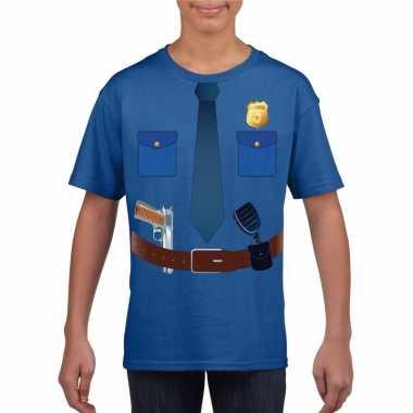 Politie uniform kostuum t-shirt blauw voor kinderencarnavalskleding
