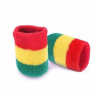 Pols zweetbandjes carnaval rood/geel/groen 2 stukscarnavalskleding